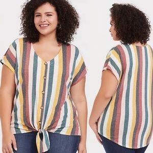 Torrid Tie-Front Multi Stripe Tee Short Sleeve 3X